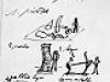 Skizzenblatt mit fünf Skulpturen