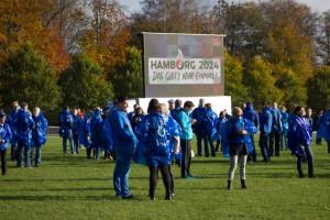 Aktion Fünf Ringe für Hamburg im Stadtpark