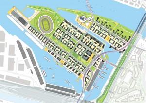 Der Masterplan für OlympiaCity auf dem Kleinen Grasbrook
