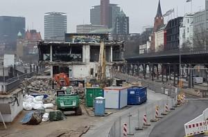 Bauarbeiten an der Überseebrücke