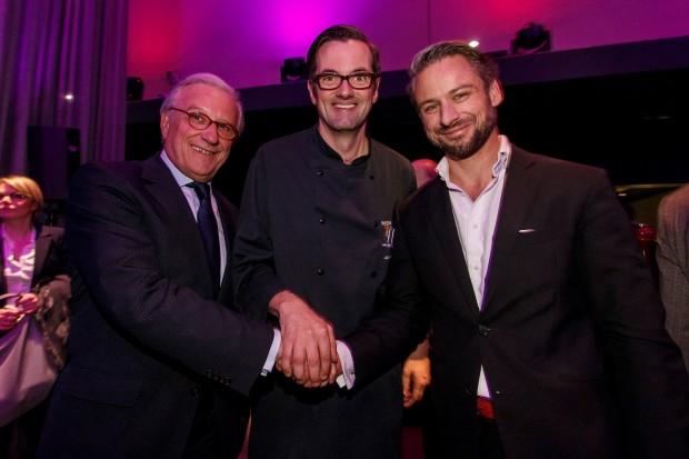 Grand Opening des HERITAGE Restaurant am 13.01.16_ mit F. J. Klein Präsident DEHOGA HH, Matthias Canttauw Küchenchef und M. Wagner Geschäftsführer MHP
