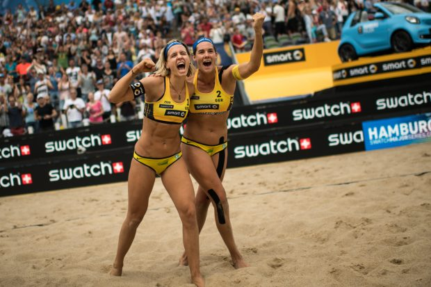 Laura Ludwig and Kira Walkenhorst of Germany celebrate after winning the smart Major Hamburg 2016, part of the Swatch Beach Volleyball Major Series