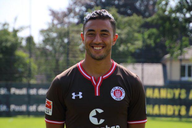 Stürmer Aziz Bouhaddouz vom FC St. Pauli