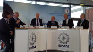 Vertreter der Diskussionsrunde bei der Pressekonferenz zur SMM: Bernd Aufderheyde, Thomas Rehder, Uwe Beckmeyer, Dr. Alexander Nürnberg, Dr. Reinhard Lüken
