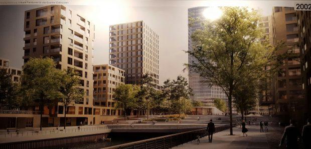 Entwurf für das Quartier an den Elbbrücken
