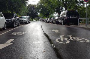 Die fertiggestellte Fahrradstraße am Leinpfad