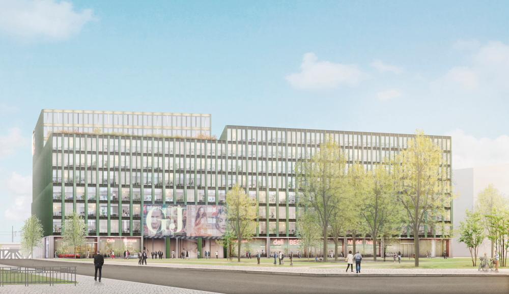 Visualisierung des Siegerentwurfs von Caruso St John für das neue G+J-Verlagshaus, Frontansicht mit Haupteingang
