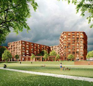Visualisierung des Siegerentwurfs von Baumschlager Eberle für den Bereich Wohnen, im Vordergrund der Lohsepark