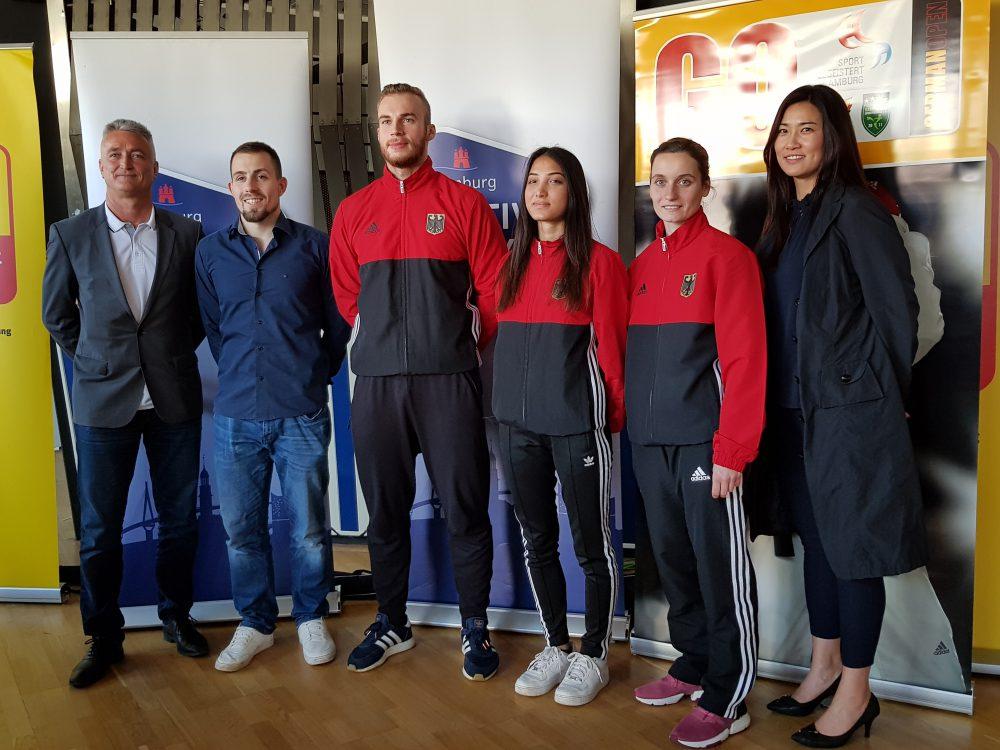 Bundestrainer Georg Streif, Philipp Trzeziak, Cem Unlüsoy, Ozlen Guruz, Madeline Folgmann und Bundestrainerin Yeonji Kim.