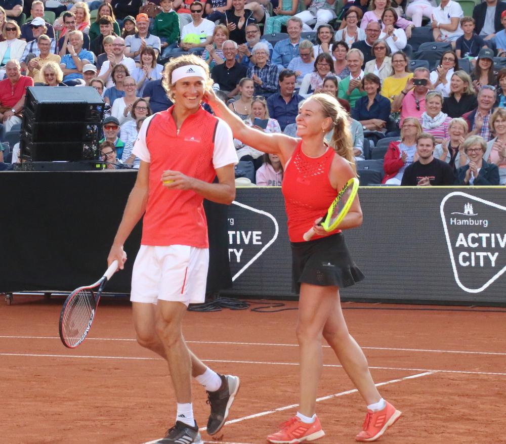 Sascha Zverev und Barbara Schett-Eagle im Doppel